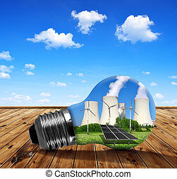 Energy resources concept - Nuclear power plant with solar...