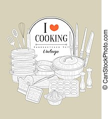 Cooking Utensils Vintage Sketch - Cooking Utensils Vintage...