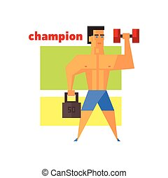 Man Champion Abstract Figure Flat Vector Illustration With...