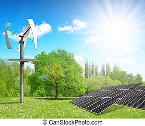 Clean energy concept - Solar energy panels with wind turbine...