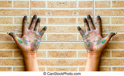 Hand dirty on the wall