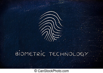 biometric technology chalk icon - biometric technology with...