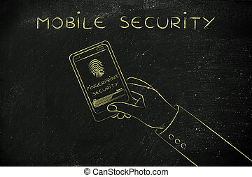 mobile security, smartphone screen with fingerprint scan in progress