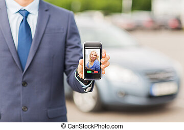close up of business man with smartphone call - transport,...
