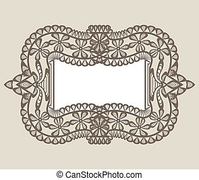 vintage lace frame - Beige background with vintage lace...