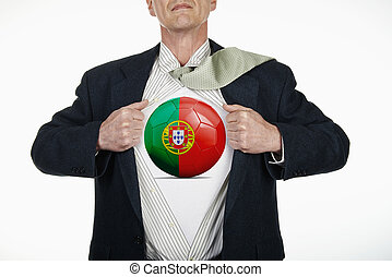 Superhero pulling Open Shirt with soccer ball - Portugal