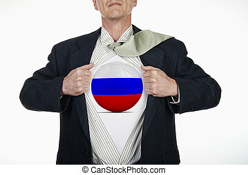 Superhero pulling Open Shirt with soccer ball - Russia