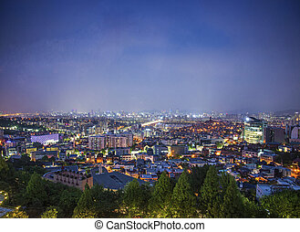 central seoul in south korea at night