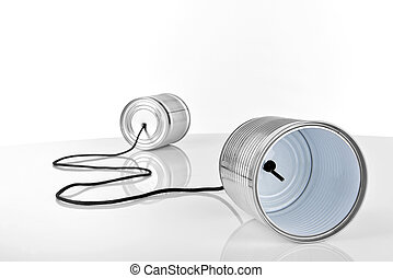 Cans connected by string - ancient communication - cans...