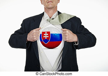 Superhero pulling Open Shirt with soccer ball - slovakia -...