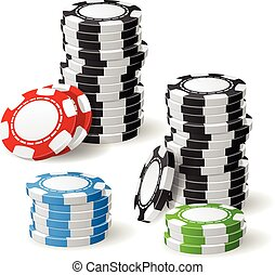 Stacks of gambling chips with leaning and pile position