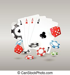 Gambling and casino symbols - poker chips, playing cards and...
