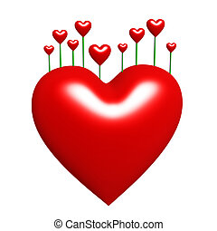 heart buds - red heart buds isolated on white background