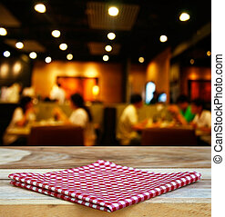 tablecloth and customer at restaurant blur background with...