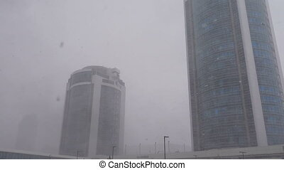 Snow blizzard in Astana - ASTANA, KAZAKHSTAN - March 17,...