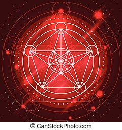 Magic Geometry Sign - Alchemy mystical symbol on space...