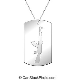 Silver soldier badge - Vector illustration of a soldier's...