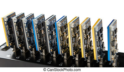Bitcoin mining equipment isolated on white - Some Bitcoin...