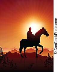 Horse and rider on sunset background Original Vector...