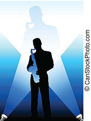 saxophone player under the bright lights