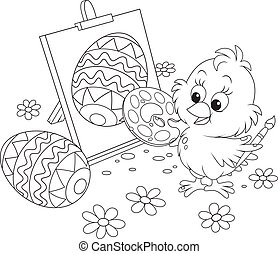 Easter Chick painter - Black and white vector illustration...