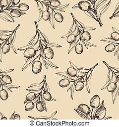 Olive branches seamless pattern.