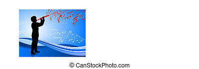 Clarinet player on abstract blue background