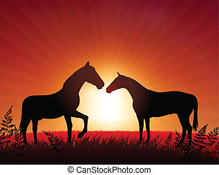 Horses on Sunset Background