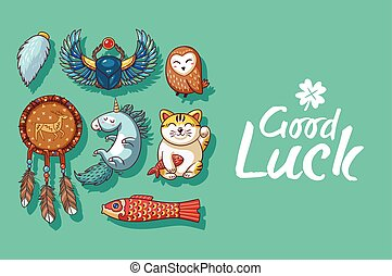 Good Luck. Cute hand drawn card with lucky charms