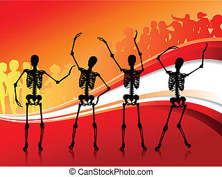 Skeletons Partying on abstract red Background