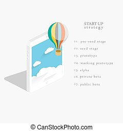 Flat 3d isometric vector design of the startup process.