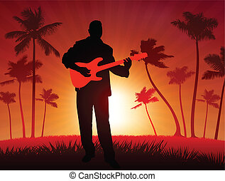 Guitar player on tropical sunset background