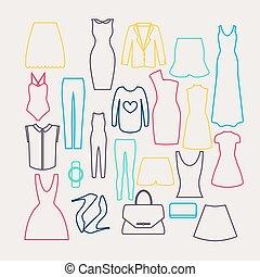 Clothes icon vector set,