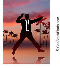 Excited Businessman on Sky Background