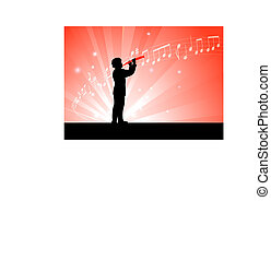 clarinet player on red background