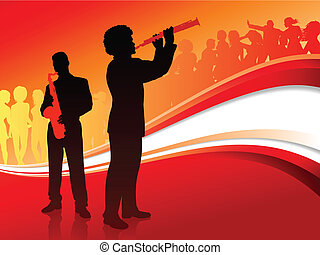 Musical Band on Red Abstract Background