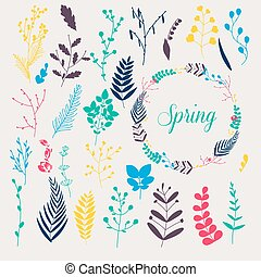 Collection of spring flowers, leaves, dandelion, grass. Design for invitation, wedding or greeting cards.