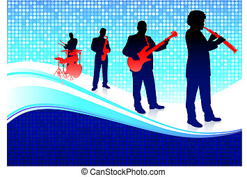 Musical Band on Abstract Blue Background