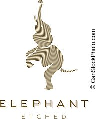 Elephant is completely Engraved Animal Vector graphics