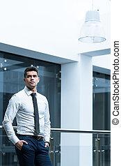 I like my business lifestyle - Elegant man leaning against...