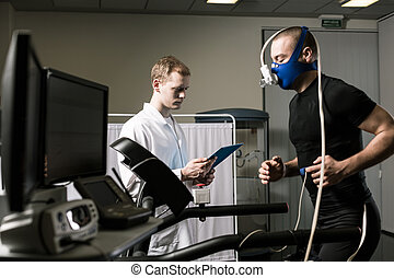 Your results are impressive - Athlete in oxygen mask running...