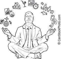 Concept of relax and work balance - Businessman in nirvana...