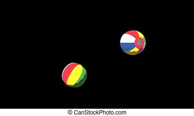 Japanese Paper Balloons On Black Background. 3DCG toon...