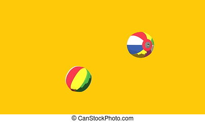 Japanese Paper Balloons On Yellow Background. 3DCG toon...