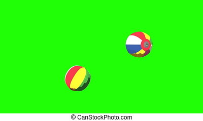 Japanese Paper Balloons On Green Chroma Key.3DCG toon...