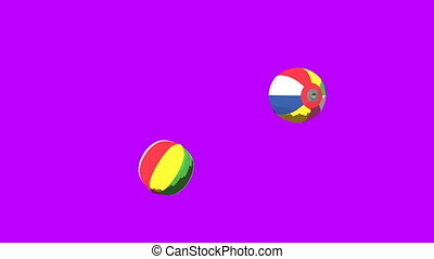 Japanese Paper Balloons On Purple Background. 3DCG toon...