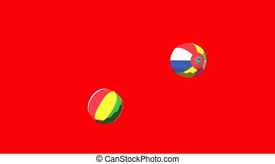 Japanese Paper Balloons On Red Background. 3DCG toon shading...