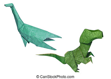 Origami dinosaurs - Isolated origami Plesiosaurus and little...