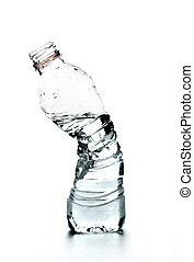 Crushed bottle of water. Conceptual photo