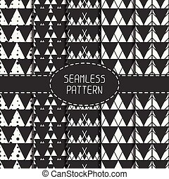 Set of line polygon abstract hipster seamless pattern with...